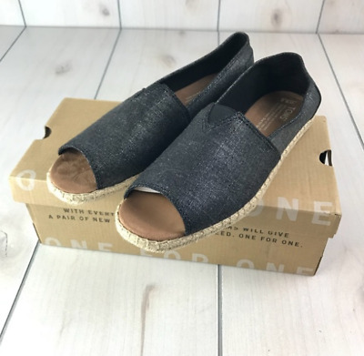 d3e1bc1e922 TOMS Womens Alpargata Black Metallic Linen Open Toe Slip On Shoes Sz 8.5 NIB