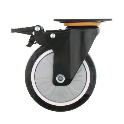 PU Flat Single Bearing Industrial Caster Wheel Dual Brake Industrial Caster