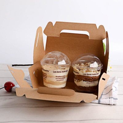 20*15*8cm Kraft Paper Baking Food Storage Box Wedding Party Cookies Snack Candy