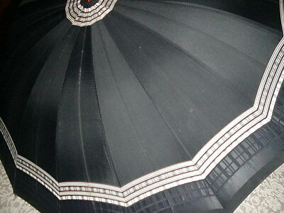 Vintage Black n Tan Umbrella with Amber Lucite Handle Button Closure