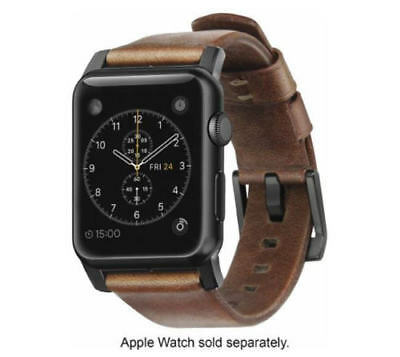 Nomad Leather Watch Strap for Apple Watch 42mm - Brown with Black Lugs