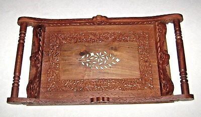 Vintage Intricate Hand Carved Wood Serving Tray Center Inlay Spindle Handles