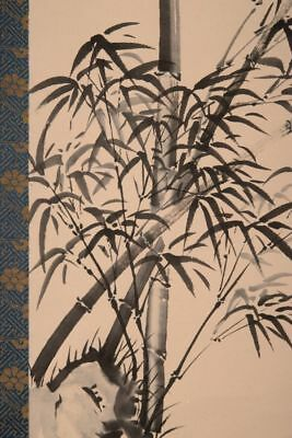 HANGING SCROLL JAPANESE PAINTING JAPAN BAMBOO SPARROW PICTURE VINTAGE ART d090