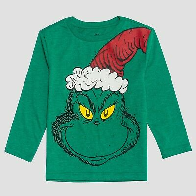 Toddler Boys Dr. Seuss Grinch Green Christmas Santa Hat Long Sleeve T-Shirt Top