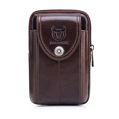 Men Genuine Leather Molle Pouch Belt Waist Pack Bag Military Waist Iphone Pocket
