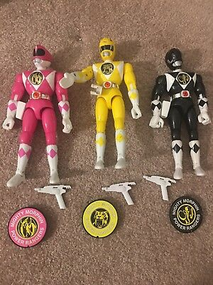"Mighty Morphin Power Rangers 8"" figure Complete Yellow Black Pink Rangers"