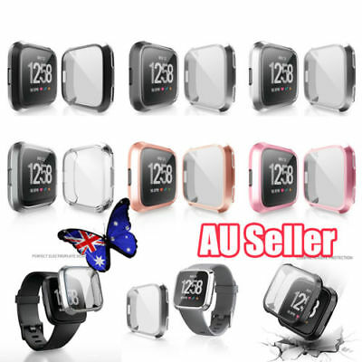For Fitbit Versa Silicone TPU Shell Case Screen Protector Frame Cover 2019 yu