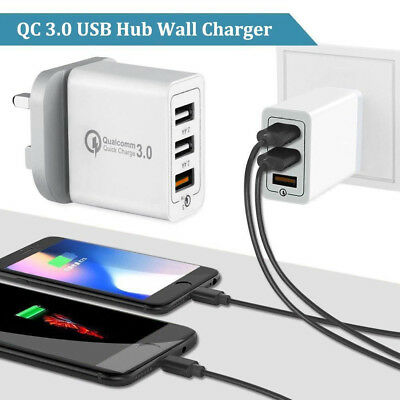 Fast Qualcomm Quick Charge 30W QC 3.0 USB 3Port Hub Wall Charger Adapter UK Plug