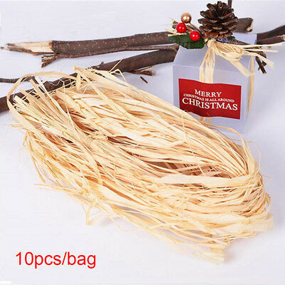 10pcs/lot Packaging Wedding Box Dry Straw Paper Raffia Wrap Natural Rope