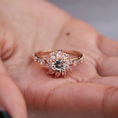Gorgeous Women Rose Gold Filled Wedding Rings Round Cut White Sapphire Size 6-10