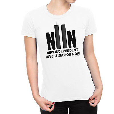 Ladies T-Shirt NEW INDEPENDENT INVESTIGATION NOW 911 Twin Towers Novelty Theory