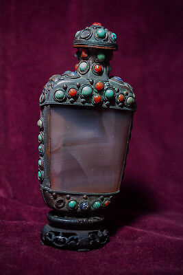 Chinese Snuff Bottle Agate Silver Filigree Gems