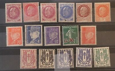 timbres FRANCE Années 1940... Neufs **