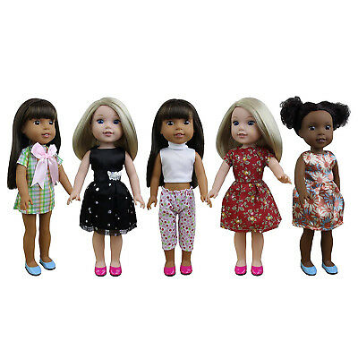 ZITA ELEMENT 5 Sets Doll Clothes Dresses for 36cm - 37cm American Girl Doll