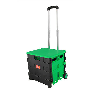 Green Folding Boot Cart Shopping Trolley Pull Handle Rolling Storage Box & Lid