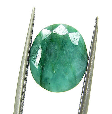 4.10 Ct Certified Natural Green Emerald Loose Gemstone Oval Stone - 109041
