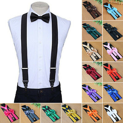 Stylish Men's Suspenders And Bowtie Bow Tie Set Clip On Y Shaped Braces Elastic
