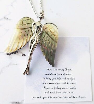 Silver engraved shell wing guardian angel protection pendant necklace / brooch