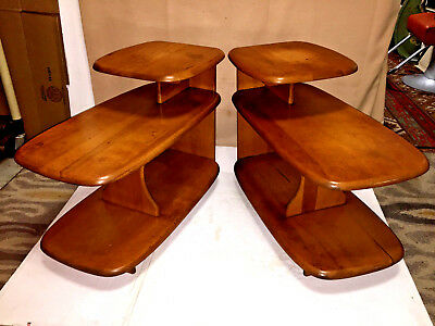 ONE- 1940s Three Tier Surf Board Style End Table Shelf - Danish Modern Style