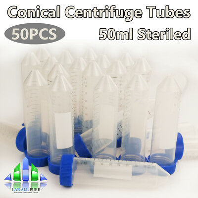 50x Sterile Conical Centrifuge Tubes 50ml Graduated Polypropylene Test Container