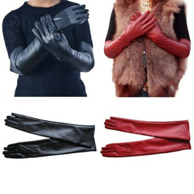 Ladies Faux Leather Evening Long Gloves Arm Hand Warmer Full Finger Mittens