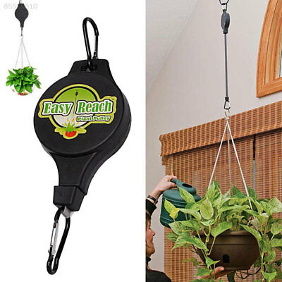 3A58 Retractable Pulley Hanging Basket Pull Down Hanger Garden Hook Easy Reach