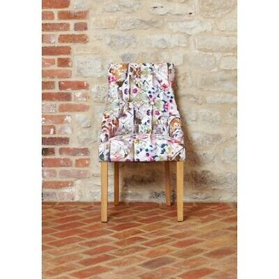 Fusion Solid Oak Wooden Furniture Colourful Patterned Chairs Button Back PAIR
