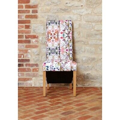 Fusion Solid Oak Wooden Furniture Colourful Patterned Chairs Tall Full Back PAIR