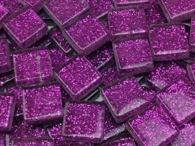 Purple Glitter Glass Mosaic Tiles 1cm - Art Craft Supplies