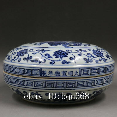 Ming xuande mark China antique Porcelain blue white flower bird Fruit boxe
