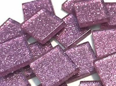 Petal Pink Glitter Glass Mosaic Tiles 2cm - Art Craft Supplies