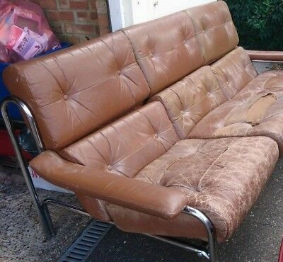 Vintage Pieff Alpha 3 Seater - Spare Parts - Rear Leather Cushion Set