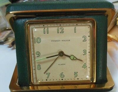 Vintage Phinney Walker Green Glow In The Dark Travel Alarm Clock Made in USA