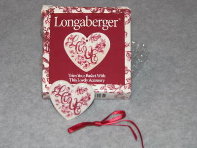 Longaberger Pottery Sweetheart Basket Tie On Love Heart Tie-on USA #37184 NIB