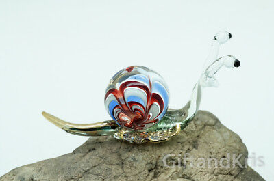 Figurine Hand Blown Glass Snail Reptile No Painted w/ Painted Gold Trim - 002