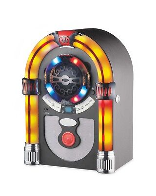 Vintage Retro Jukebox Stereo CD FM Radio Bluetooth MP3 AUX Colour Changing Frame