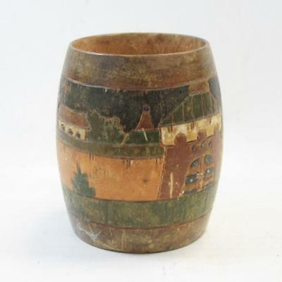 Antique Miniature Wooden Treen Barrel with Castle Town Scene Engraving, 9cm Tall