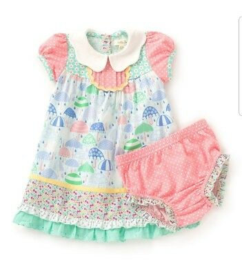 f18fb7605df NWT Matilda Jane 6-12 M Raindrops Dress The Adventure Begins   Diaper Cover  NEW
