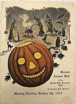 Great Vintage Halloween graphic dance card jack-o-lantern, witches  1914