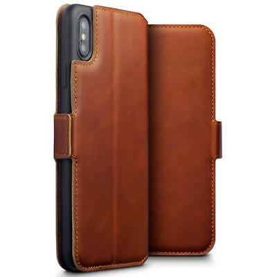 Terrapin Low Profile Genuine Leather Wallet Case for iPhone XS Max - Cognac