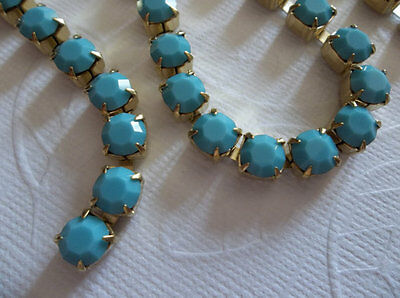 6mm Turquoise Rhinestone Chain - Brass Setting - 29SS Large Czech Crystals