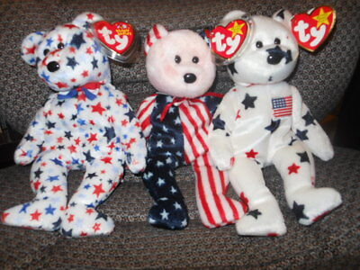 3 Ty  Beanie Babies Glory 1998, Spangle 1999, and Red White and Blue 2003