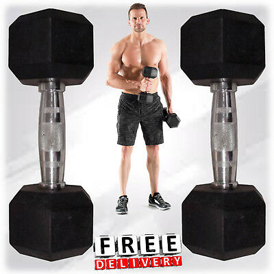 Weight Dumbbell Set Rubber Hex Strength Hand Home Gym Fitness Equipment Workout