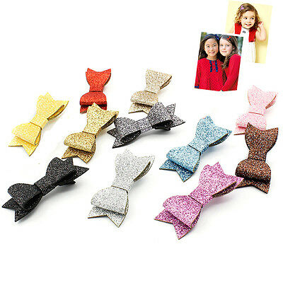 Baby Girl Hairbow Hairpins Fashion Glitter Leather Bow Hair Clips Hair ^P