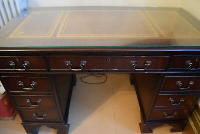 Vintage Writing Desk With Leather