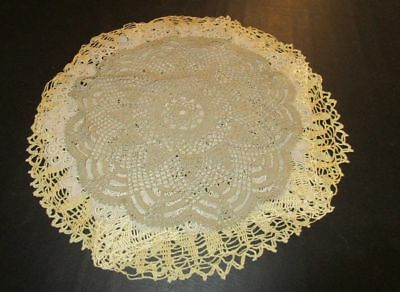 "Lot of 5 Vintage Crocheted Doilies 14-18"" Beige Taupe"