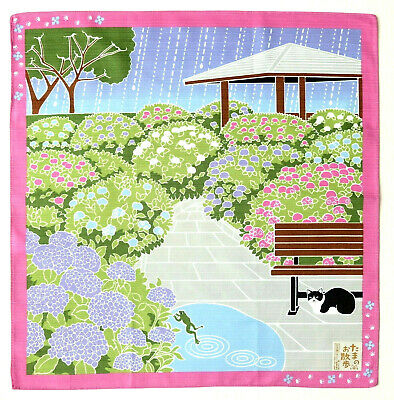 Hydrangea with Cat in the Rain Japanese Cotton Furoshiki Wrapping Cloth TB68