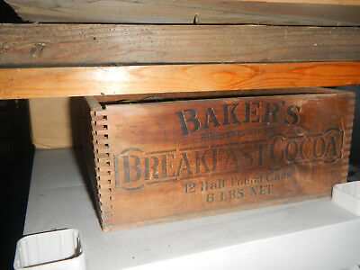 Antique Vintage Finger Jointed Wooden Crate Advertising Baker's Breakfast Cocoa