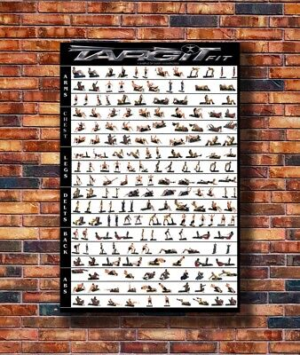 T1831 36 Silk Poster body building graphic-of-home-gym-exercises-chart-spitting