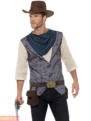 e20efc52b67 Mens Rugged Cowboy Costume Clint Eastwood Wild West Western Fancy Dress  Outfit